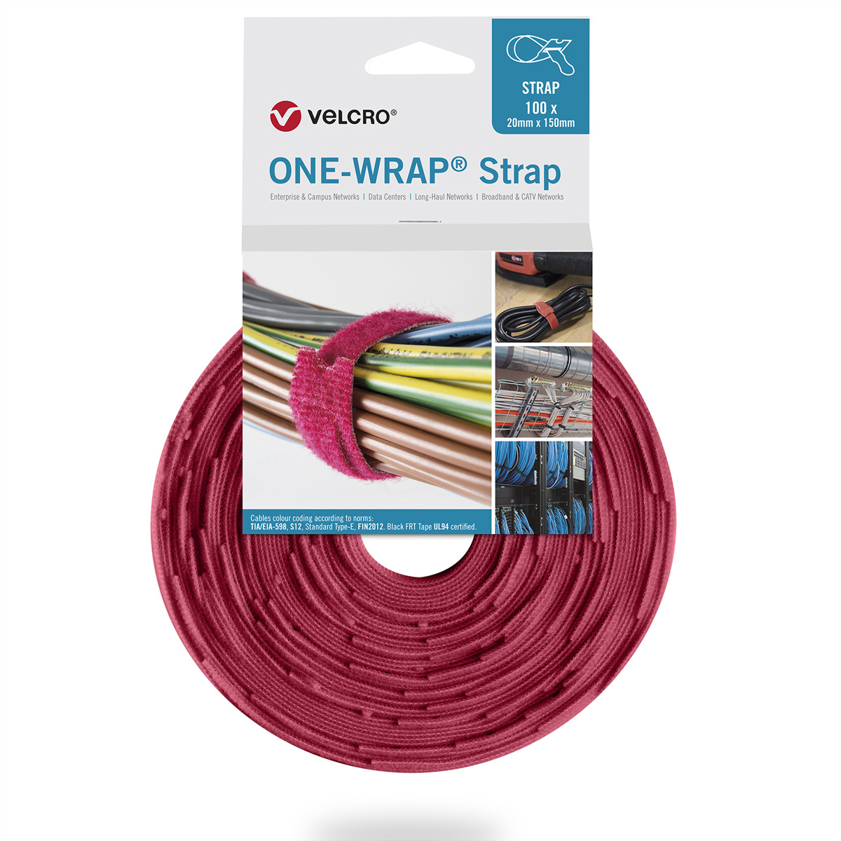 VELCRO® One Wrap® Strap 25mm x 300mm, 100 Stück, rot