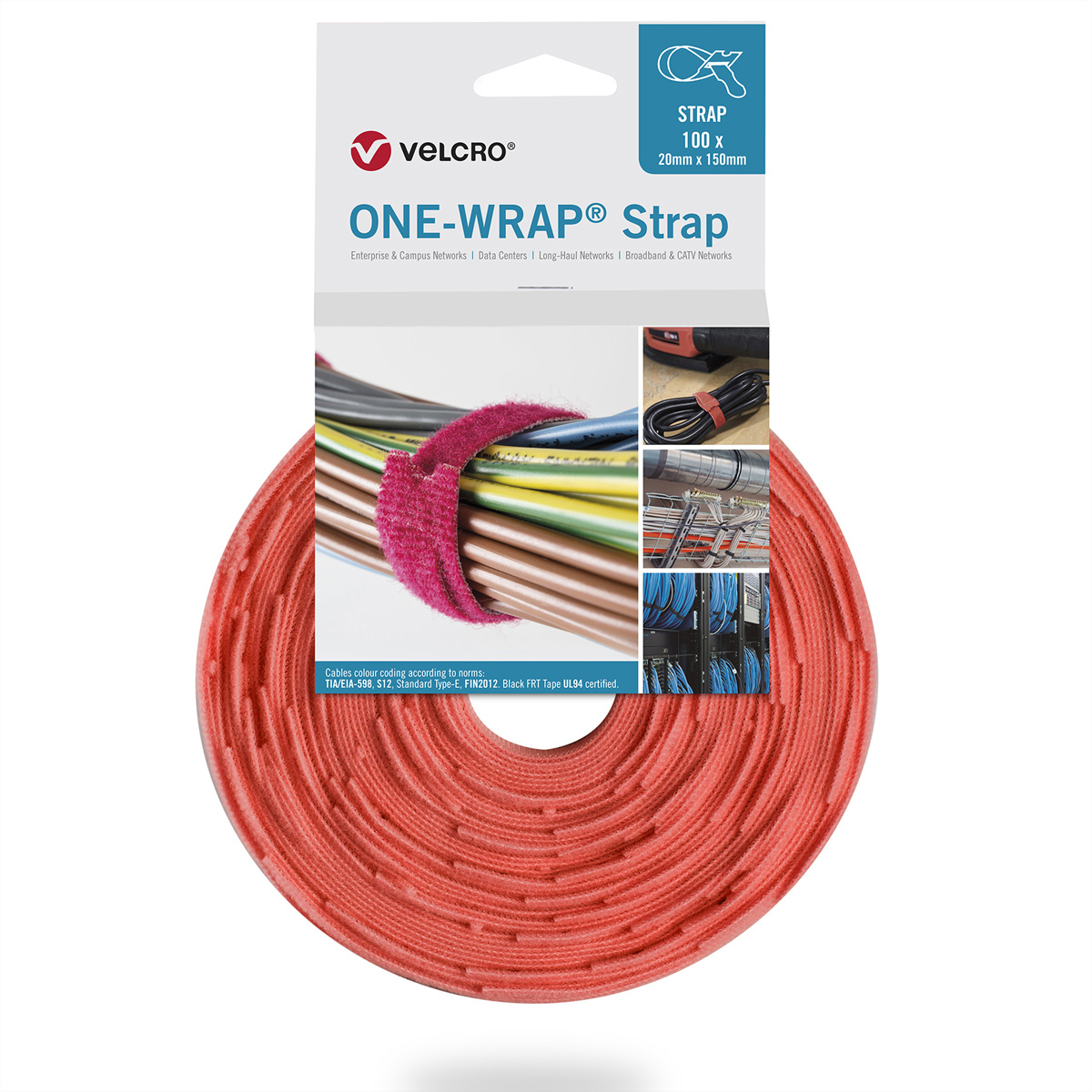 VELCRO® One Wrap® Strap 25mm x 300mm, 100 Stück, orange