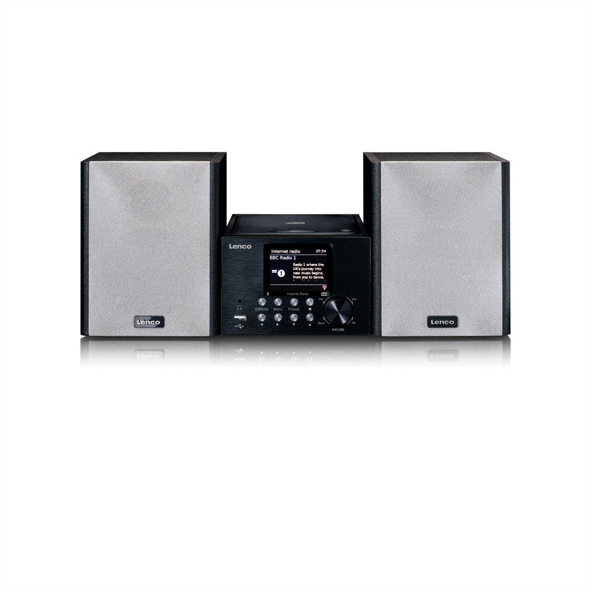 Lenco MC-250, Microset DAB+, bluetooth, CD/MP3, USB, Wecker, 2x10W, schwarz